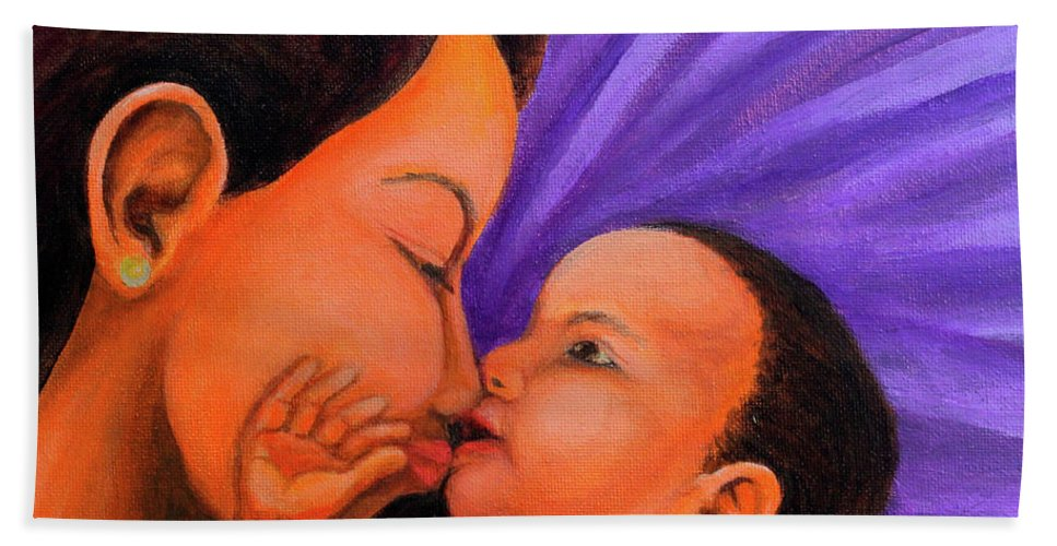 Mother Hand Towel featuring the painting Mother's Love by Cyril Maza