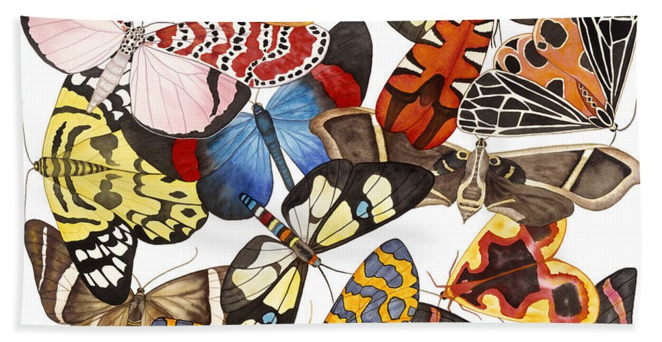 Moths Bath Towel featuring the painting Moths and More Moths by Lucy Arnold