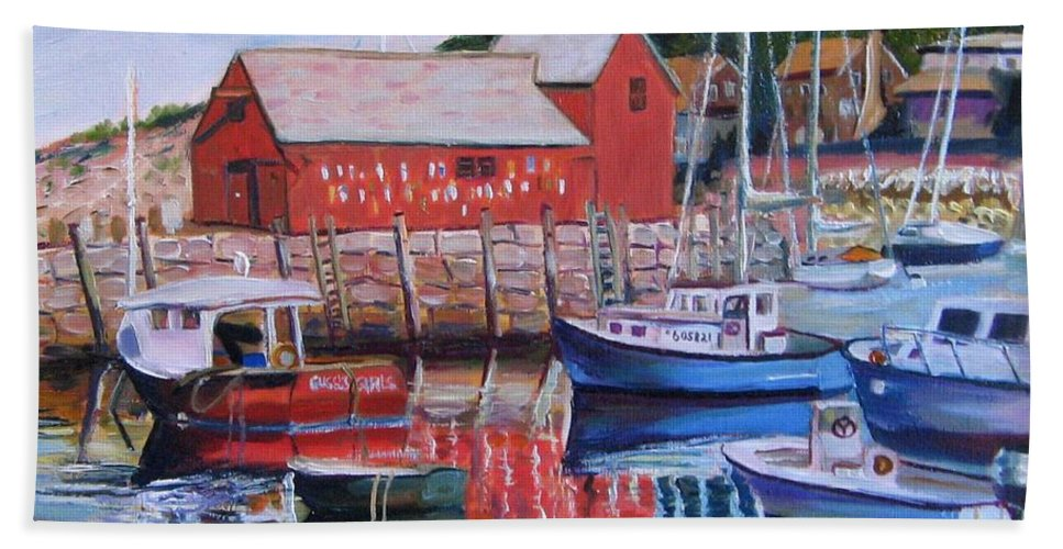 Rockport Hand Towel featuring the painting Motif Number One by Richard Nowak