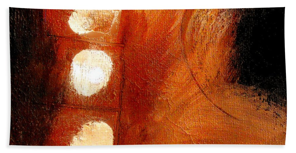 Abstract Bath Sheet featuring the painting Motion Trap by Ruth Palmer