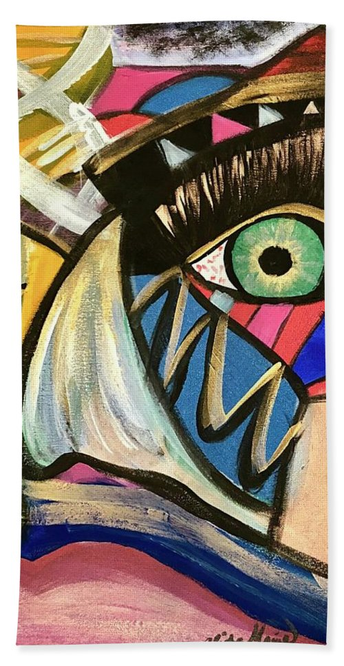 Abstract Bath Towel featuring the painting Motley Eye 3 by Alisha Anglin