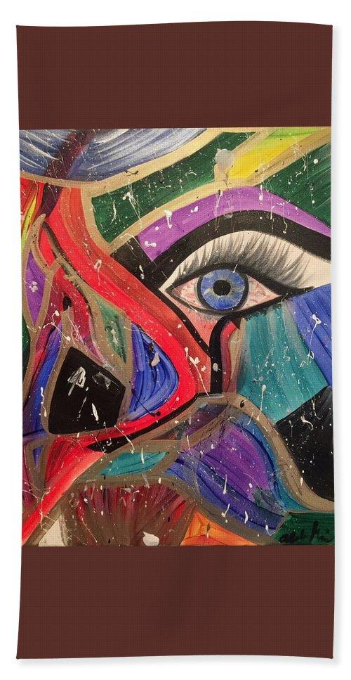 Abstract Bath Towel featuring the painting Motley Eye by Alisha Anglin