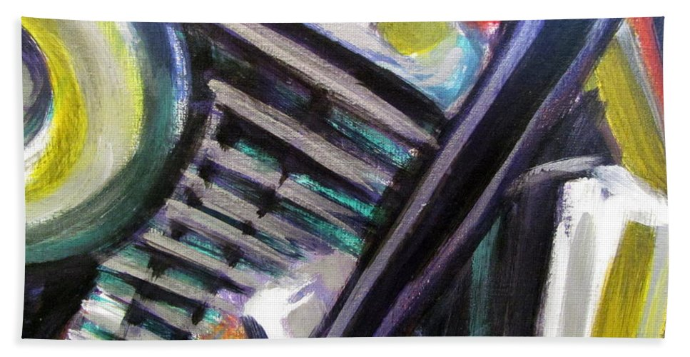 Motorcycle Hand Towel featuring the painting Motorcycle Abstract Engine 1 by Anita Burgermeister