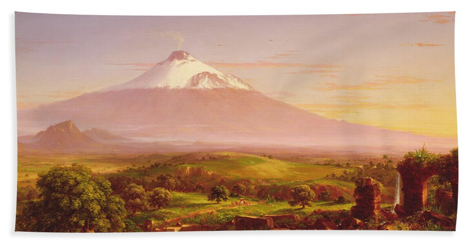 Cole Hand Towel featuring the painting Mount Etna by Thomas Cole