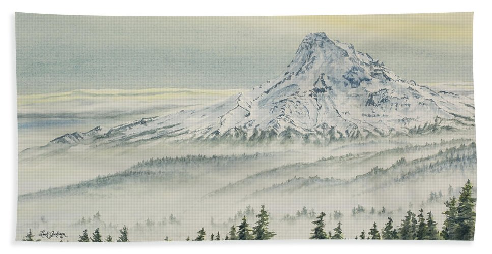 Mount Hood Hand Towel featuring the painting Mount Hood Evening by Link Jackson