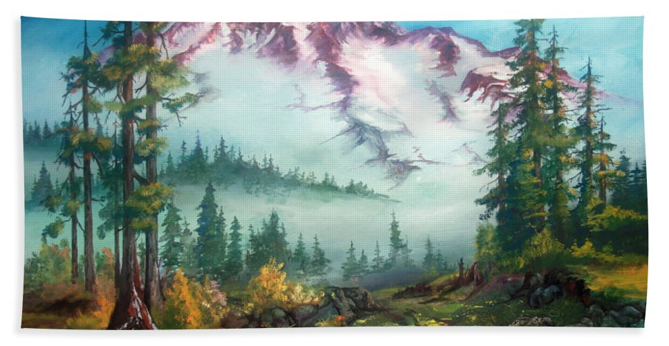 Mountains Bath Towel featuring the painting Mount Rainier by Sherry Shipley