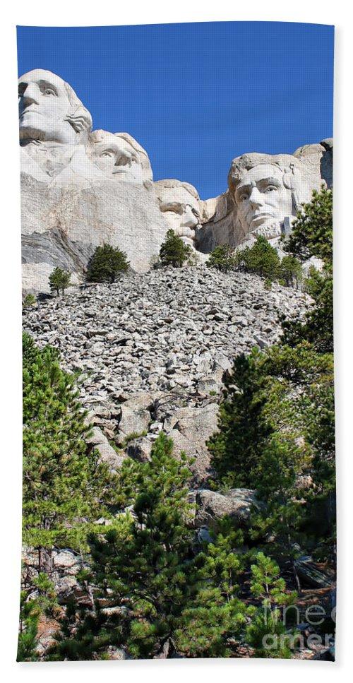 Mountain Bath Sheet featuring the photograph Mount Rushmore II by Teresa Zieba