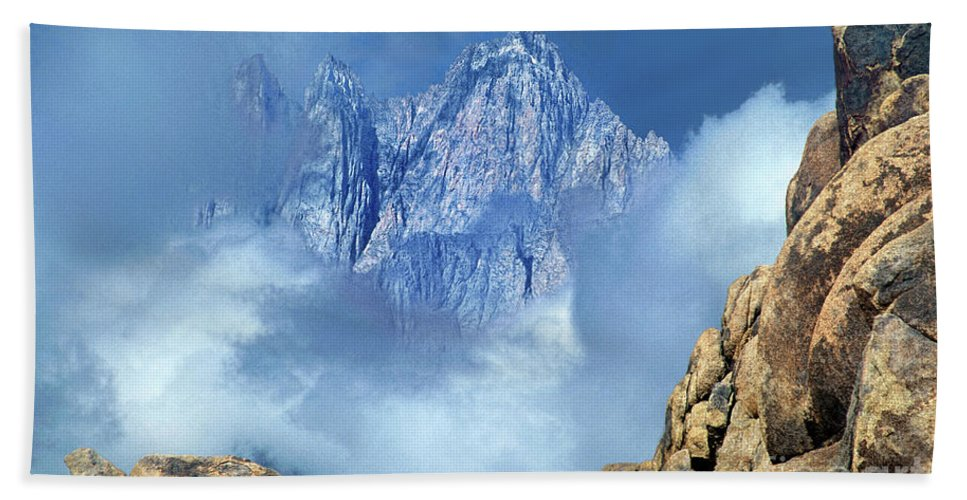 Eastern Sierras Hand Towel featuring the photograph Mount Whitney Clearing Storm Eastern Sierras California by Dave Welling
