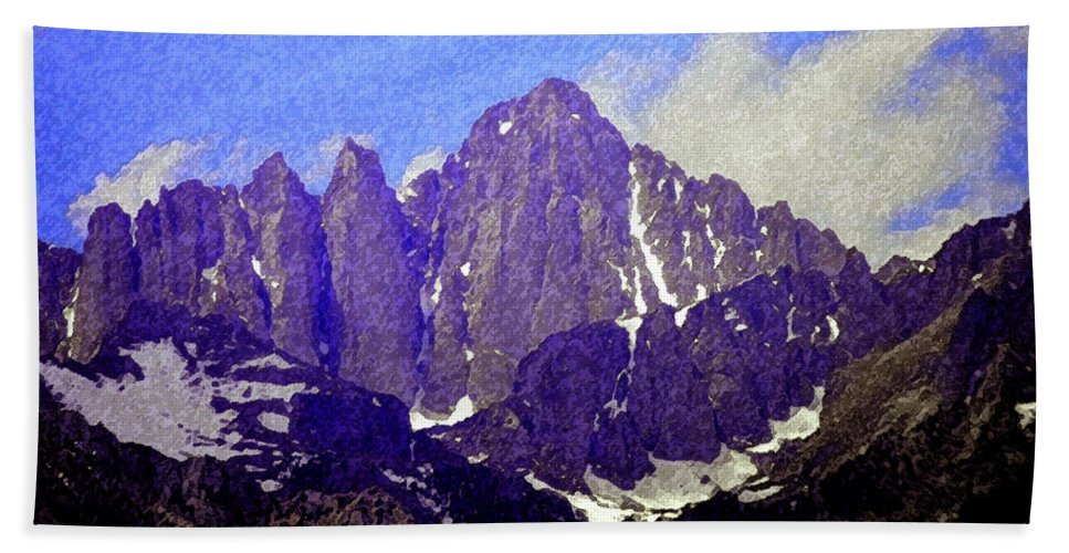 Art Bath Sheet featuring the painting Mount Whitney by David Lee Thompson