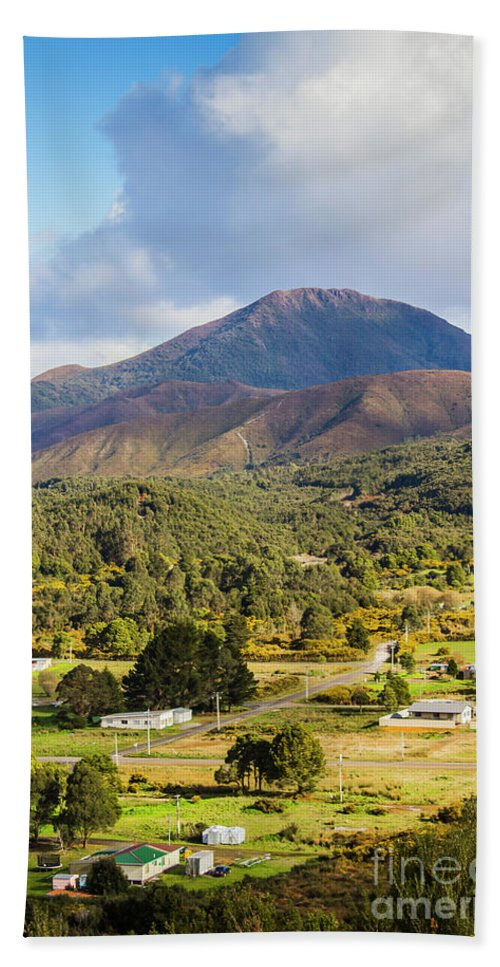 Countryside Bath Towel featuring the photograph Mount Zeehan Valley Town. West Tasmania Australia by Jorgo Photography - Wall Art Gallery