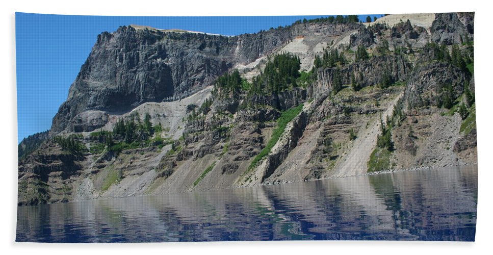 Crater Lake Hand Towel featuring the photograph Mountain Blue by Laddie Halupa