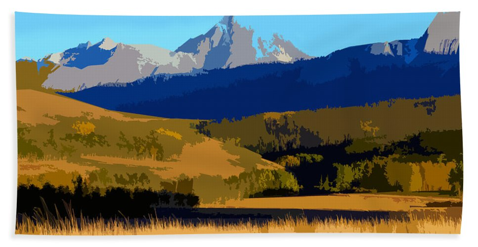 Mountains Hand Towel featuring the painting Mountain Country by David Lee Thompson
