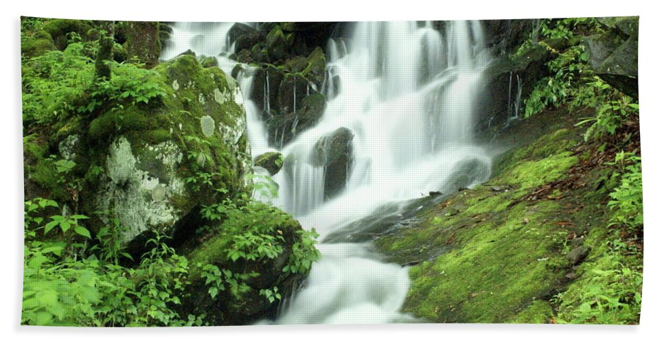 Waterfalls Hand Towel featuring the photograph Mountain Falls by Marty Koch