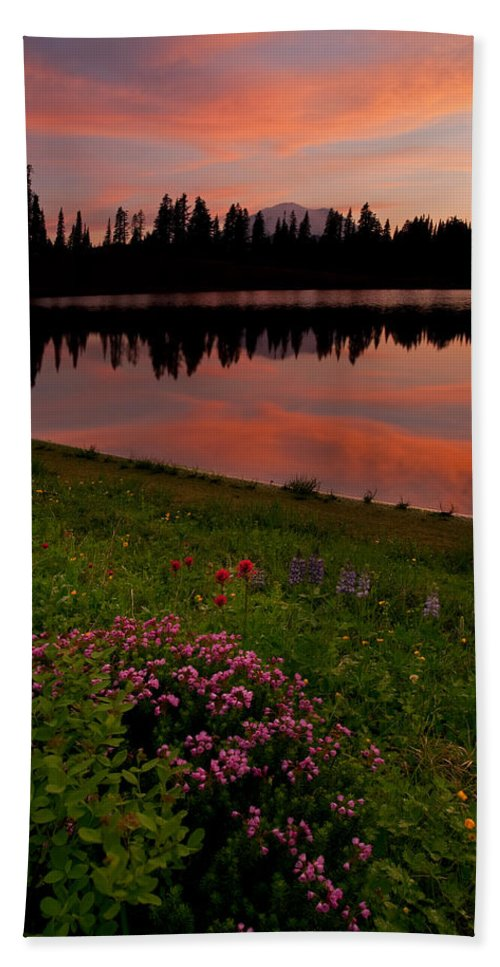 Montain Heather Bath Sheet featuring the photograph Mountain Heather Reflections by Mike Dawson