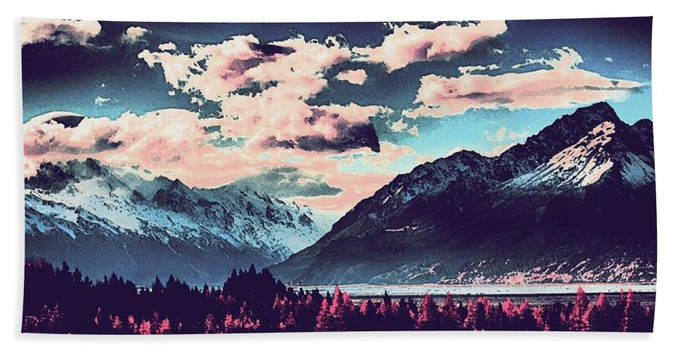 Nature Bath Sheet featuring the painting Mountain Landscape Vista by Celestial Images
