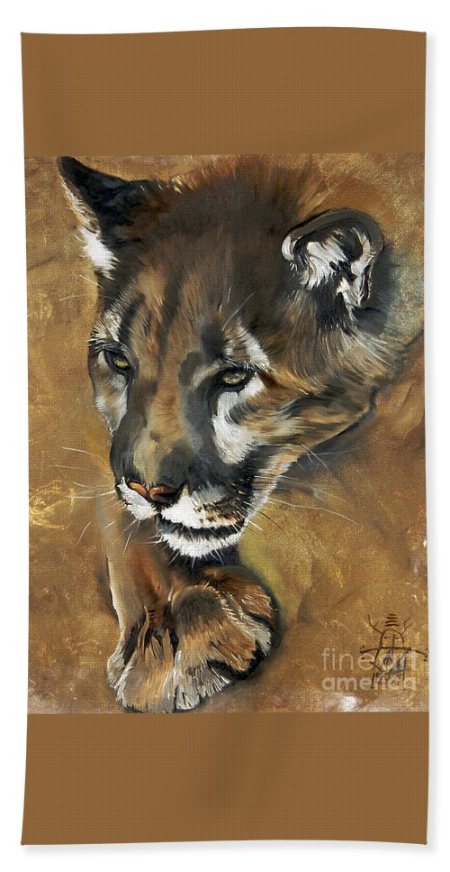 Southwest Art Bath Sheet featuring the painting Mountain Lion - Guardian Of The North by J W Baker