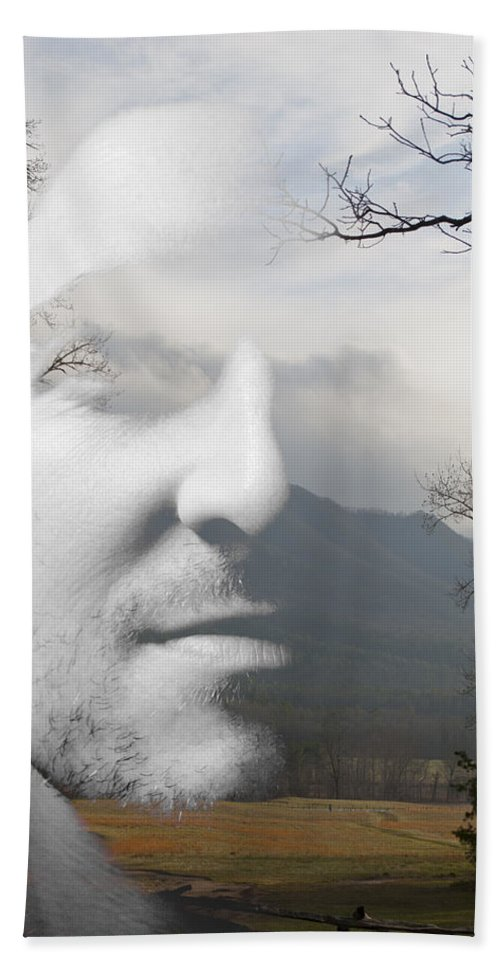 Mountain Hand Towel featuring the painting Mountain Man by Christopher Gaston