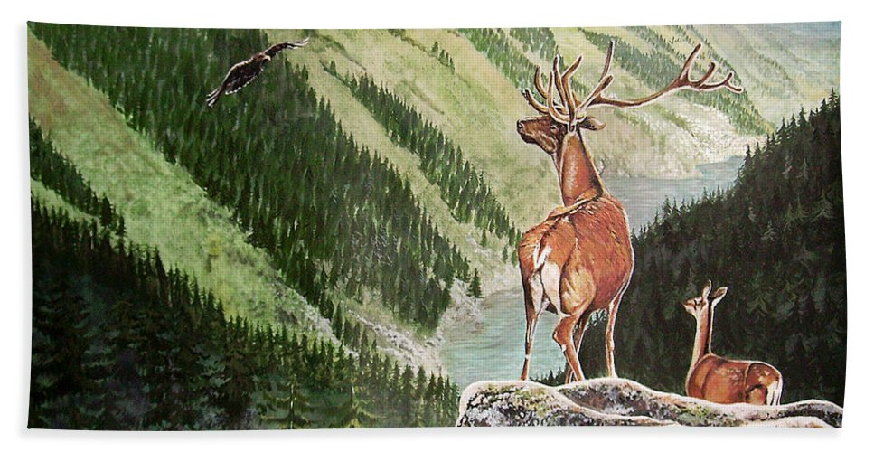 Deer Hand Towel featuring the painting Mountain Morning by Arie Van der Wijst