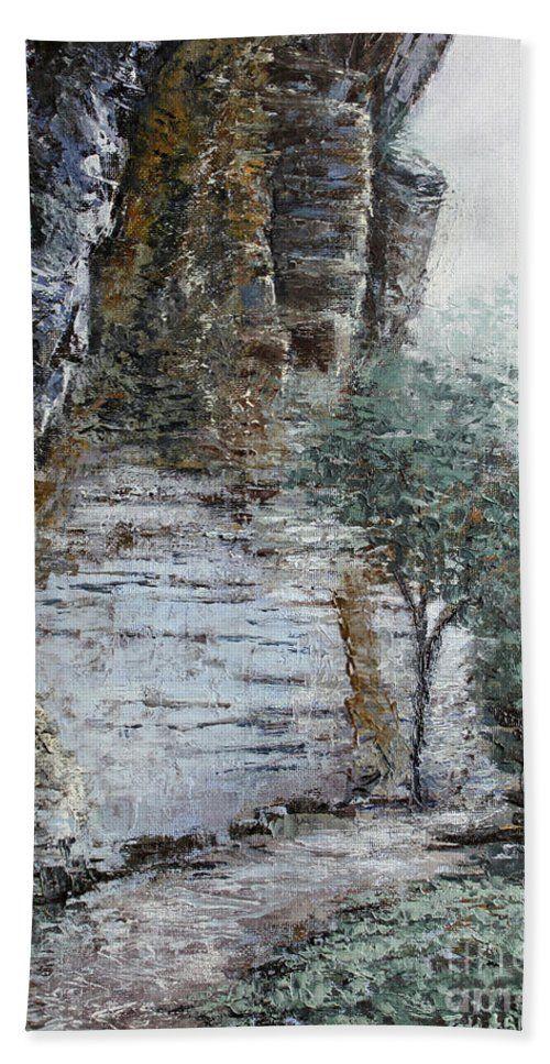 Landscape Bath Towel featuring the painting Mountain Pass by Todd A Blanchard
