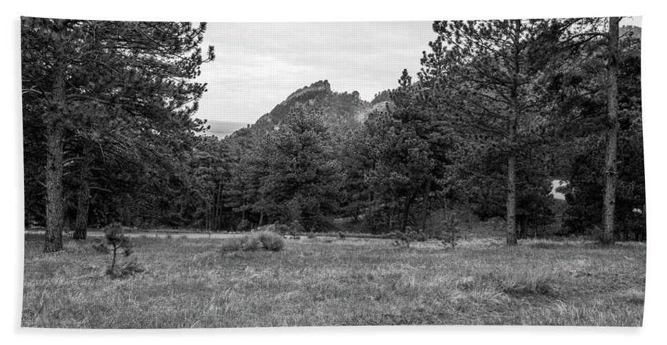 Black And White Bath Sheet featuring the photograph Mountain Peak Through The Trees In Black And White by Michael Putthoff