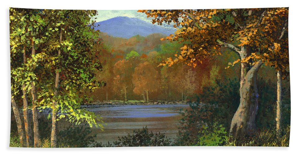 Landscape Bath Towel featuring the painting Mountain Pond by Frank Wilson