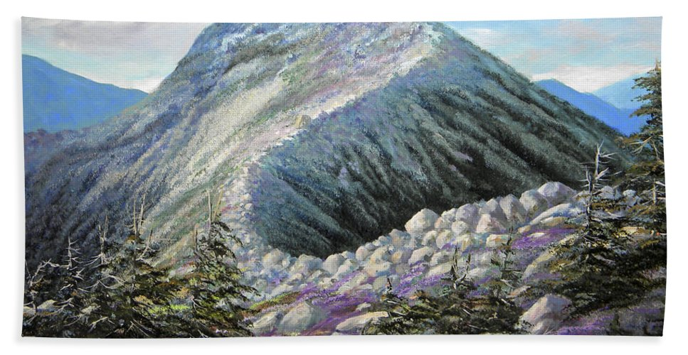 Landscape Bath Towel featuring the painting Mountain Ridge by Frank Wilson