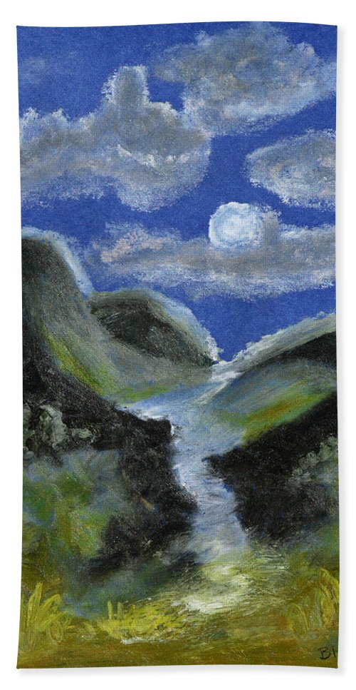 Moonlight Bath Towel featuring the pastel Mountain Spring In The Moonlight by Donna Blackhall