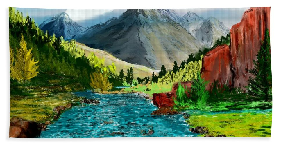 Nature Hand Towel featuring the digital art Mountain Stream by David Lane