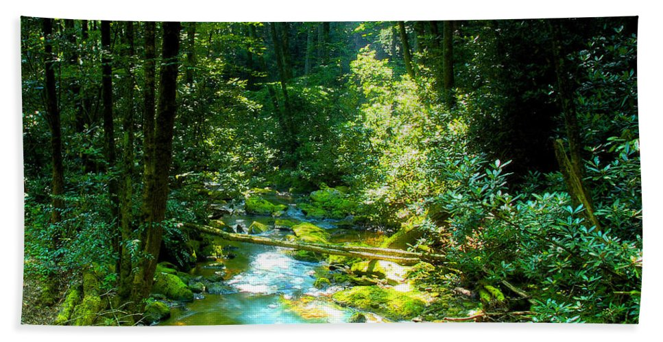 Mountain Stream Bath Sheet featuring the painting Mountain Stream by David Lee Thompson