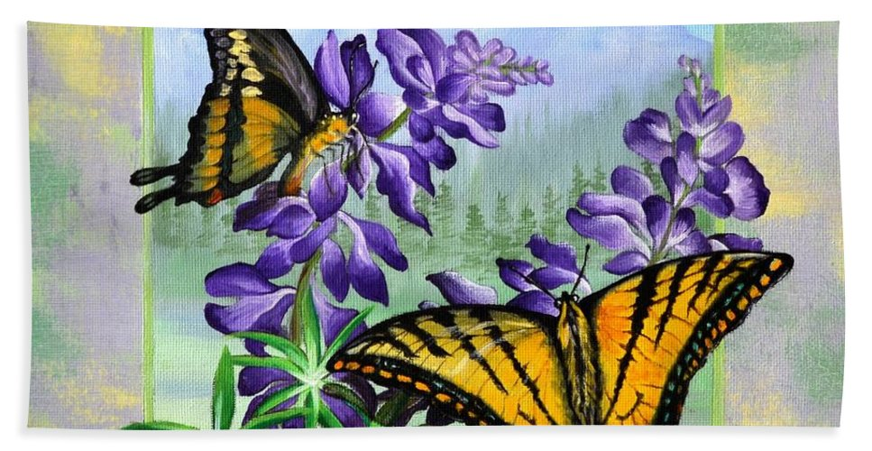 Tiger Swallowtail Painting Bath Sheet featuring the painting Mountain Swallowtail by Sherry Cullison