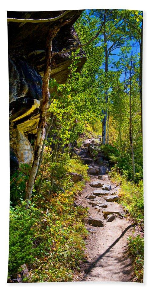 Trail Bath Sheet featuring the photograph Mountain Trail by James O Thompson