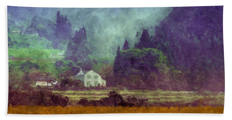 Landscape Bath Sheet featuring the digital art Mountain Valley Home by Kim Groseclose