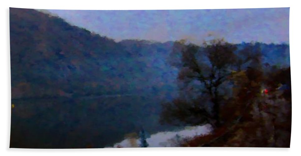 Lake Hand Towel featuring the digital art Mountain, Water And Road. by Lenka Rottova