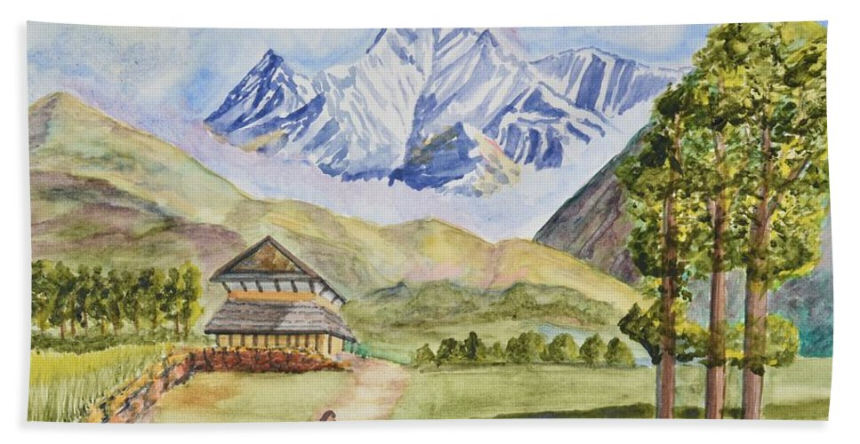 Linda Brody Hand Towel featuring the painting Mountains And Valley by Linda Brody