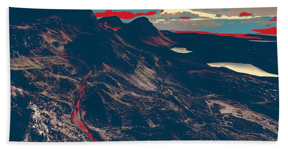 Nature Bath Sheet featuring the painting Mountains By Red Road by Celestial Images