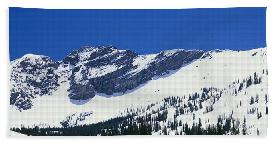 Photography Bath Sheet featuring the photograph Mountains Covered With Snow, Little by Panoramic Images