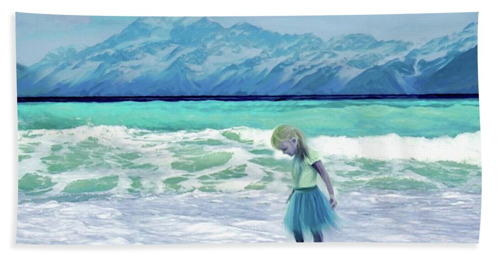 Ocean Hand Towel featuring the painting Mountains Ocean With Little Girl by Susanna Katherine