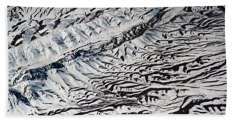 Aerial Bath Sheet featuring the photograph Mountains Patterns. Aerial View by Jenny Rainbow