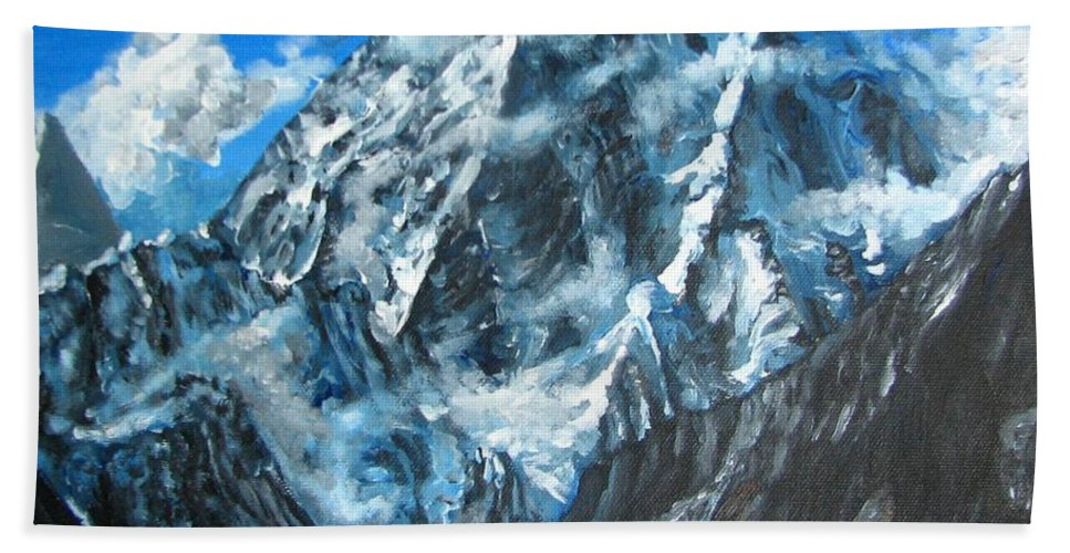 Mountains Bath Towel featuring the painting Mountains View Landscape Acrylic Painting by Natalja Picugina