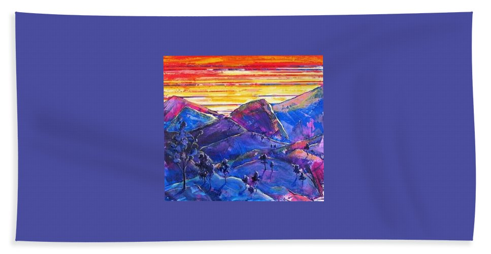 Mountains Bath Towel featuring the painting Mountainscape Blue by Rollin Kocsis