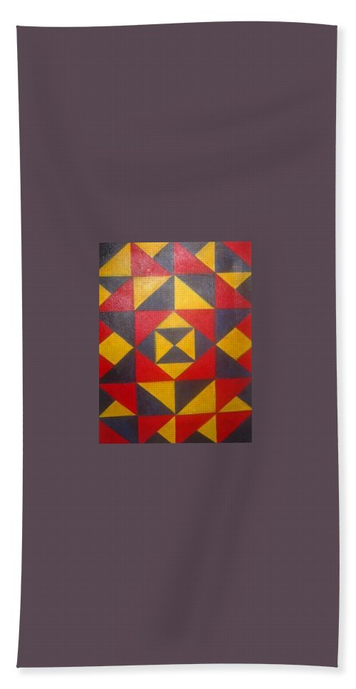 Abstract Hand Towel featuring the painting Mountian Woman by Andrew Johnson