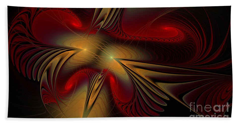 Digital Hand Towel featuring the digital art Movement Of Red And Gold by Deborah Benoit