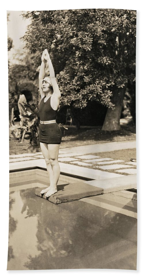 1 Person Hand Towel featuring the photograph Movie Star About To Dive by Underwood Archives