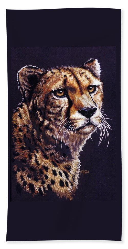 Cheetah Bath Towel featuring the drawing Movin On by Barbara Keith