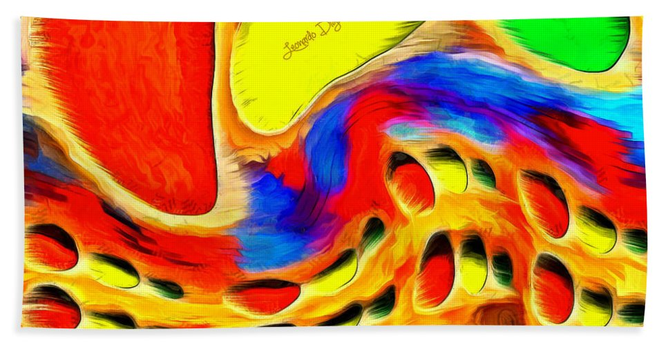 Backdrop Bath Sheet featuring the painting Moving Colors by Leonardo Digenio