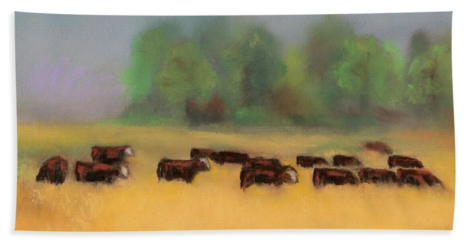 Cattle Bath Towel featuring the painting Moving On by Frances Marino