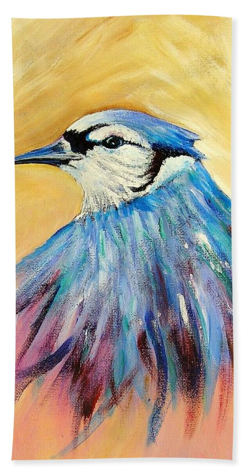 Bluejay Bath Sheet featuring the painting Mr. Blue by Patricia Piffath