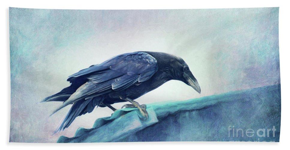 Raven Hand Towel featuring the photograph Mr. Bluebird by Priska Wettstein