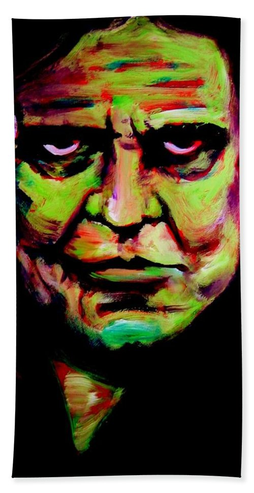 Portrait Bath Towel featuring the painting Mr. Cash by Jason Reinhardt
