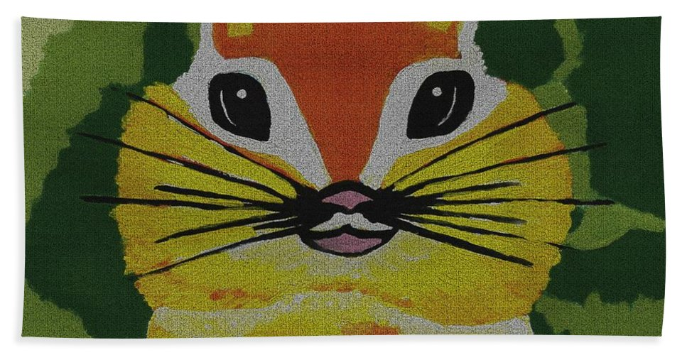 Animal Art Bath Sheet featuring the mixed media Mr Chipmunk by Kathleen Sartoris